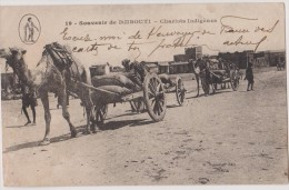 CARTE POSTALE ANCIENNE DJIBOUTI,jabuuti,afrique, 1919,chariot Indigene,chameau,dromadai Re,attelage,systeme D - Djibouti