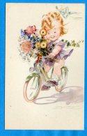 Mans964, Petite Fille Sur Son Vélo, Fleur,  Non Circulée - Mauzan, L.A.