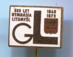 CZECH REPUBLIC - LITOMYSL, Gymnasium, Enamel, Vintage Pin, Badge - Administrations