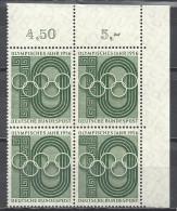 Deutschland 1956 Olympisches Jahr Mi 231 ** 4x. Eckrandviererblock. Yvert 107 - BRD