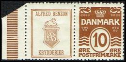 1931-1933. Wavy-line. ALFRED BENZON KRYDDERIER (Swan) + 10 øre Yellowbrown. (Michel: R 59) - JF171099 - Varietà & Curiosità