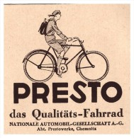 Original Werbung - 1930 - PRESTO - Qualitätsfahrrad , Nationale Automobil AG , Prestowerke Chemnitz !!! - Transport