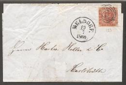 1854. Dotted Spandrels. 4 Skilling Brown. 123 MELDORF 19 7 1860. (Michel: 4) - JF120183 - 1851-63 (Frederik VII)