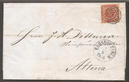 1854. Dotted Spandrels. 4 Skilling Brown. Exceptional Wide Margins Mute Cancel. BAHNHOF... (Michel: 4) - JF120184 - 1851-63 (Frederik VII)