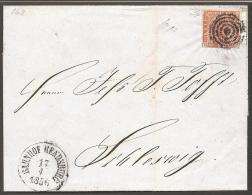 1854. Dotted Spandrels. 4 Skilling Brown. Variety 3. Tr. Pl. 1 Nr. 1. Mute Cancel. BAHN... (Michel: 4) - JF120182 - 1851-63 (Frederik VII)