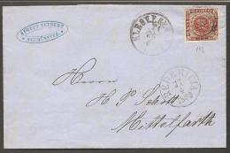 1858. Wavy-lined Spandrels. 4 Skilling Brown, Wmk. I Small Crown 192. SLESV.P.SP.BUR I.... (Michel: 7a) - JF120177 - Briefe U. Dokumente