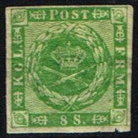 1858. Wavy-lined Spandrels. 8 Skilling Green. Tear. Michel € 700.  (Michel: 8) - JF158441 - Used Stamps