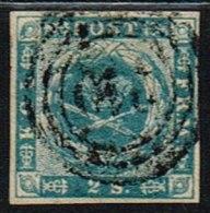 1855. Dotted Spandrels. 2 Skilling Blue. 210 KØBENHAVN JERNBANE. Very Scarce Cancel On ... (Michel: 3) - JF158445 - Neufs