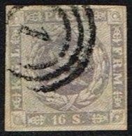 1857. Dotted Spandrels. 16 Skilling Grey-lilac Cancelled 1. (Michel: 6) - JF161331 - 1851-63 (Frederik VII)