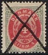 1870. Bi-coloured Skilling. 4 Skilling Carmine/grey. Perf. 14x13½. Normal Frame X (Michel: 18IA) - JF164119 - 1864-04 (Christian IX)