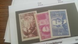 LOT 242788 TIMBRE DE FRANCE NEUF** N�462 A 464 VALEUR 37,5 EUROS  LUXE