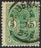 1882. Coat-of Arms. Small Corner Figures. 5 Øre Green. Variety Lower Left Corner Cut. (Michel: 32) - JF164738 - 1864-04 (Christian IX)