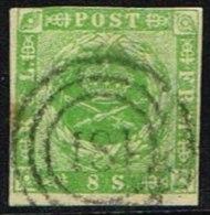 1857. Dotted Spandrels. 8 Skilling Green Cancelled 181. (Michel: 5) - JF161329 - 1851-63 (Frederik VII)
