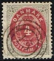 1870. Bi-coloured Skilling. 4 Skilling Carmine/grey. Perf. 14x13½. Normal Frame Canceel... (Michel: 18IA) - JF161338 - 1864-04 (Christian IX)
