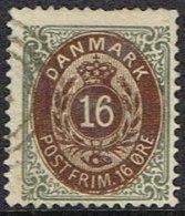 1875. Bi-coloured. 16 Øre Brown/grey. Perf. 14x13½. Normal Frame (Michel: 27IYAb) - JF164311 - 1864-04 (Christian IX)