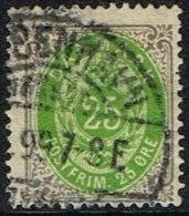 1875-1903. Bi-coloured. 25 Øre Grey/green 4. Print.  (Michel: 29) - JF165958 - 1864-04 (Christian IX)