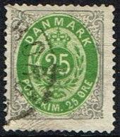 1875-1903. Bi-coloured. 25 Øre Grey/green 2. Print. Variety South Frame (B37) (Michel: 29) - JF165956 - 1864-04 (Christian IX)