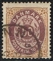 1875. Bi-coloured. 50 Øre Lilac/brown. Perf. 14x13½. Normal Frame (Michel: 30IYAb) - JF165977 - 1864-04 (Christian IX)