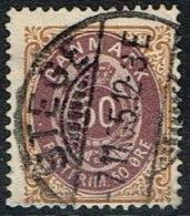 1875. Bi-coloured. 50 Øre Lilac/brown. Perf. 14x13½. Normal Frame STEGE -7. 11. 05.  (Michel: 30IYAb) - JF165961 - 1864-04 (Christian IX)