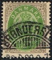 1875-1903. Bi-coloured. 25 Øre Grey/green 5. Print. BRØNDERSLEV. (Michel: 29) - JF165959 - 1864-04 (Christian IX)