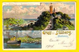 Gelaufen 1906 GRUSS Vom SULLBERG HAMBURG BLANKENESE * BISMARCKSTEIN * SCHIFF Augusta VICTORIA Litho Lithographie 3292 - Blankenese