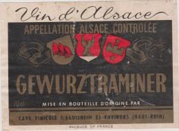 étiquette :   Vin ,  Gewurztraminer  Cave  D  Eguisheim   Haut  Rhin   Alsace - Etiquettes