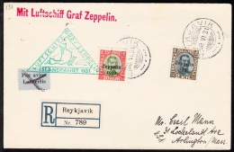 1931. Air Mail. Zeppelin. 2 Kr. Green-grey/brown King Christian X. Only 40.000 Issued. ... (Michel: 149) - JF102189 - Airmail