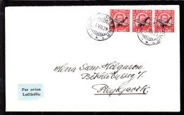 1929. Air Mail. Overprint. Aeroplane On 10 Aur Red King Christian X In Strip Of 3. SIGL... (Michel: 122) - JF103778 - Poste Aérienne