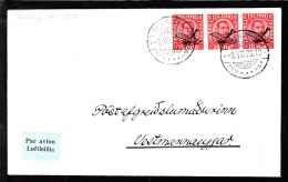 1929. Air Mail. Overprint. Aeroplane On 10 Aur Red King Christian X In Strip Of 3. REYK... (Michel: 122) - JF103771 - Poste Aérienne