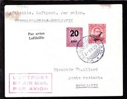 1929. Air Mail. King Christian IX. 20 Aur On 40 Aur Lilac And Air Mail. Overprint. Aero... (Michel: 107, 122) - JF103784 - Airmail