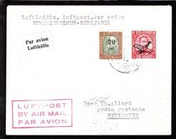 1929. King Christian IX. 20 Aur On 25 Aur Green/brown And Air Mail. Overprint. Aeroplan... (Michel: 106, 122) - JF103764 - Airmail