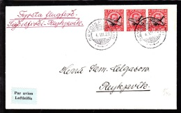 1929. Air Mail. Overprint. Aeroplane On 10 Aur Red King Christian X In Strip Of 3. Firs... (Michel: 122) - JF103775 - Poste Aérienne