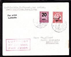 1929. Air Mail. King Christian IX. 20 Aur On 40 Aur Lilac And Air Mail. Overprint. Aero... (Michel: 107, 122) - JF103785 - Airmail