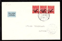 1929. Air Mail. Overprint. Aeroplane On 10 Aur Red King Christian X In Strip Of 3. Firs... (Michel: 122) - JF103776 - Airmail