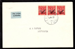 1929. Air Mail. Overprint. Aeroplane On 10 Aur Red King Christian X In Strip Of 3. Firs... (Michel: 122) - JF103777 - Poste Aérienne