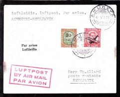 1929. King Christian IX. 20 Aur On 25 Aur Green/brown And Air Mail. Overprint. Aeroplan... (Michel: 106, 122) - JF103763 - Airmail