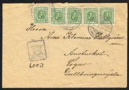 1915. Two Kings. 5 Aur Green. Perf. 14x14½, Wm. Cross 4-STRIPE + Single Stamp On Rec-co... (Michel: 79) - JF104556 - 1873-1918 Dipendenza Danese