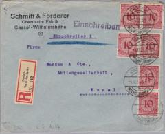 DR 1923-12-04 CASSEL 6X10Pf. R-Brief Nach Basel - Lettres & Documents