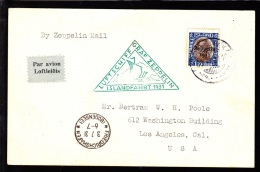 1931. Air Mail. Zeppelin. 1 Kr. Brown/blue King Christian X REYKJAVIK 30.VI.31 LUFTSCHI... (Michel: 148) - JF103936 - Airmail