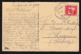 1931. Gullfoss. 20 Aur Red On Postcard (Gryla.) To Luzern, Schweiz From REYKJAVIK 24. V... (Michel: 151) - JF104630 - Iceland