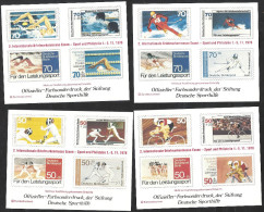 Deutschland 1978 4x Entwürfe 2. Intern. Briefmarkenmesse Essen. Offizieller Farbsonderdruck Stiftung Deutsche Sporthilfe - BRD
