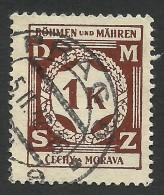 Bohemia & Moravia, 1 K. 1941, Sc # O6, Mi # 6, Used - Bohemia & Moravia