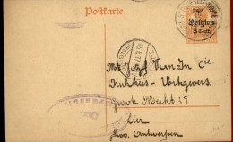100145 GERMANIA - BELGIEN 8 CENT. OVERRINT POSTAL CARD-CDS ST.GENESIUS-RHODE//RHODE ST GENESE TO BCDS LIER//(BELGIEN) - WW I
