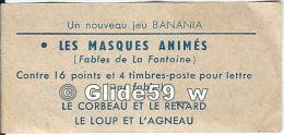 Vignette Publicitaire - Un Nouveau Jeu BANANIA - Les Masques Animés (Fables De La Fontaine) - Course à La Lune - Advertising