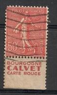 Timbre à Bande Publicitaire Type Semeuse N° 199.  50c Rouge. Réclame Pub Publicité Carnet. - Advertising