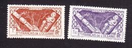 French Oceania, Scott #103,108, Mint Hinged, Idols, Issued 1934-1939 - Oceania (1892-1958)