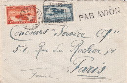 Casablanca 1937 - Lettre Avec Griffe Par Avion - Daguin Chèque Postal - Maroc (1891-1956)