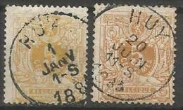 """Belgique - """"Lion Couché"""" - N°28 - Dent.14&15 - Obl. EC HUY - 1869-1888 Lion Couché"""