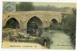 ARGENTON-CHÂTEAU. - Le Pont- Neuf. Belle Carte Toilée Couleur - Argenton Chateau