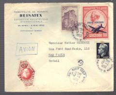 MONACO 1952  N° 313 C, 367 & PA 14 Obl. S/Lettre Entiére - Monaco